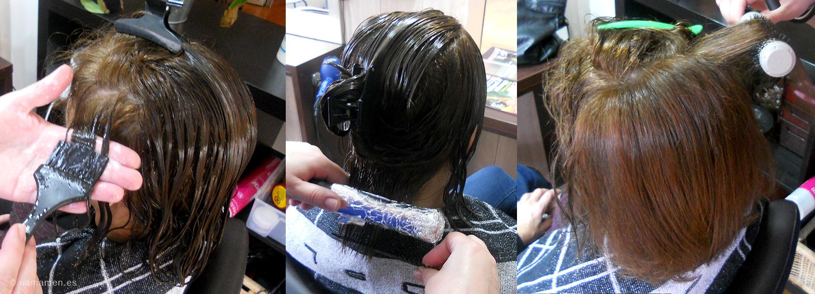 La máscara para los cabellos el aceite el huevo el coñac